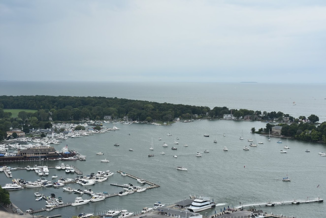 A cluster of sailing ships in Put-In-Bay